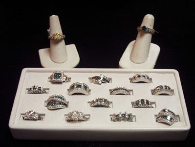 Blue and White Diamond Rings